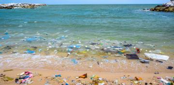 Playa llena de residuos plásticos