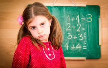 Niña con gesto compungido junto a una pizarra con operaciones matemáticas