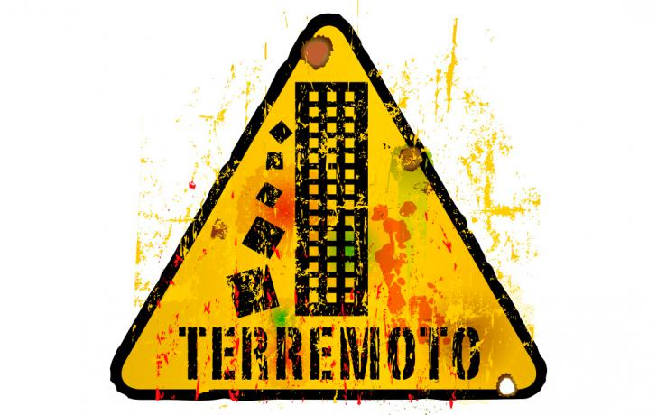 Cartel de advertencia sobre los terremotos