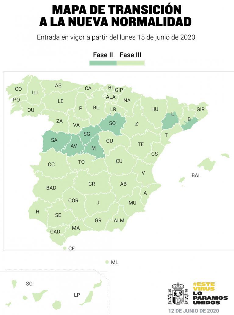 Infografía: Tres de cada cuatro ciudadanos españoles estarán el lunes en fase 3