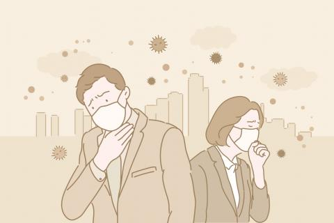 Personas tosiendo con altas temperaturas